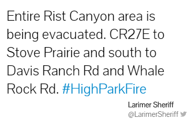 Tweet from Larimer County Sheriff's Office at 6:54 pm