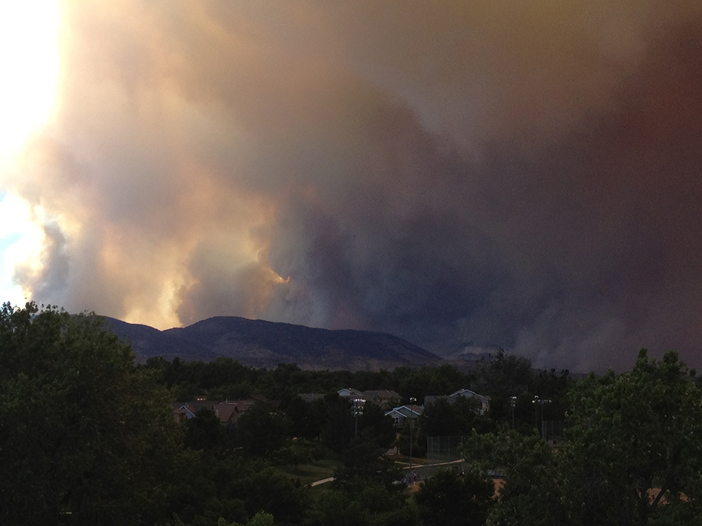 Smoke from the rapidly-growing High Park Fire, as seen from Fort Collins