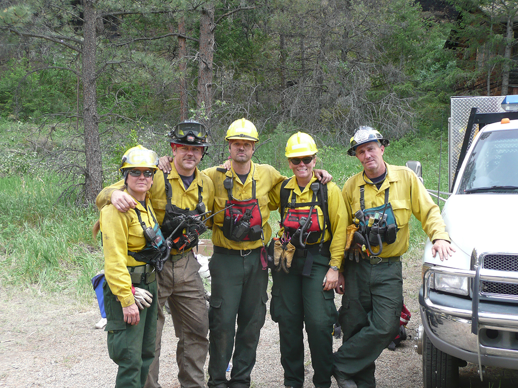 A volunteer hand crew from the Poudre Canyon Fire Protection District